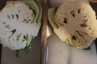 Halved cauliflower