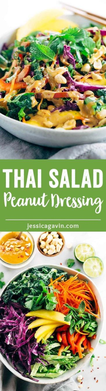 Crunchy Thai Salad with Creamy Peanut Dressing